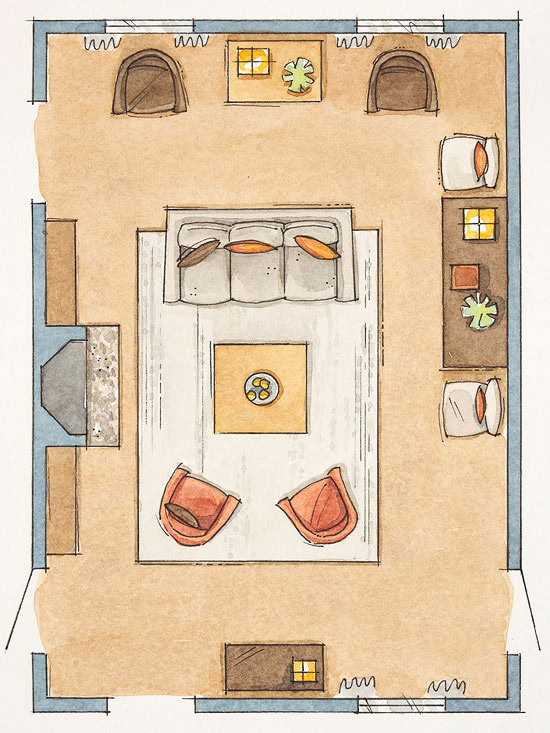 Trucchi per arredare il soggiorno tips tricks for for Arrange a room with dimensions