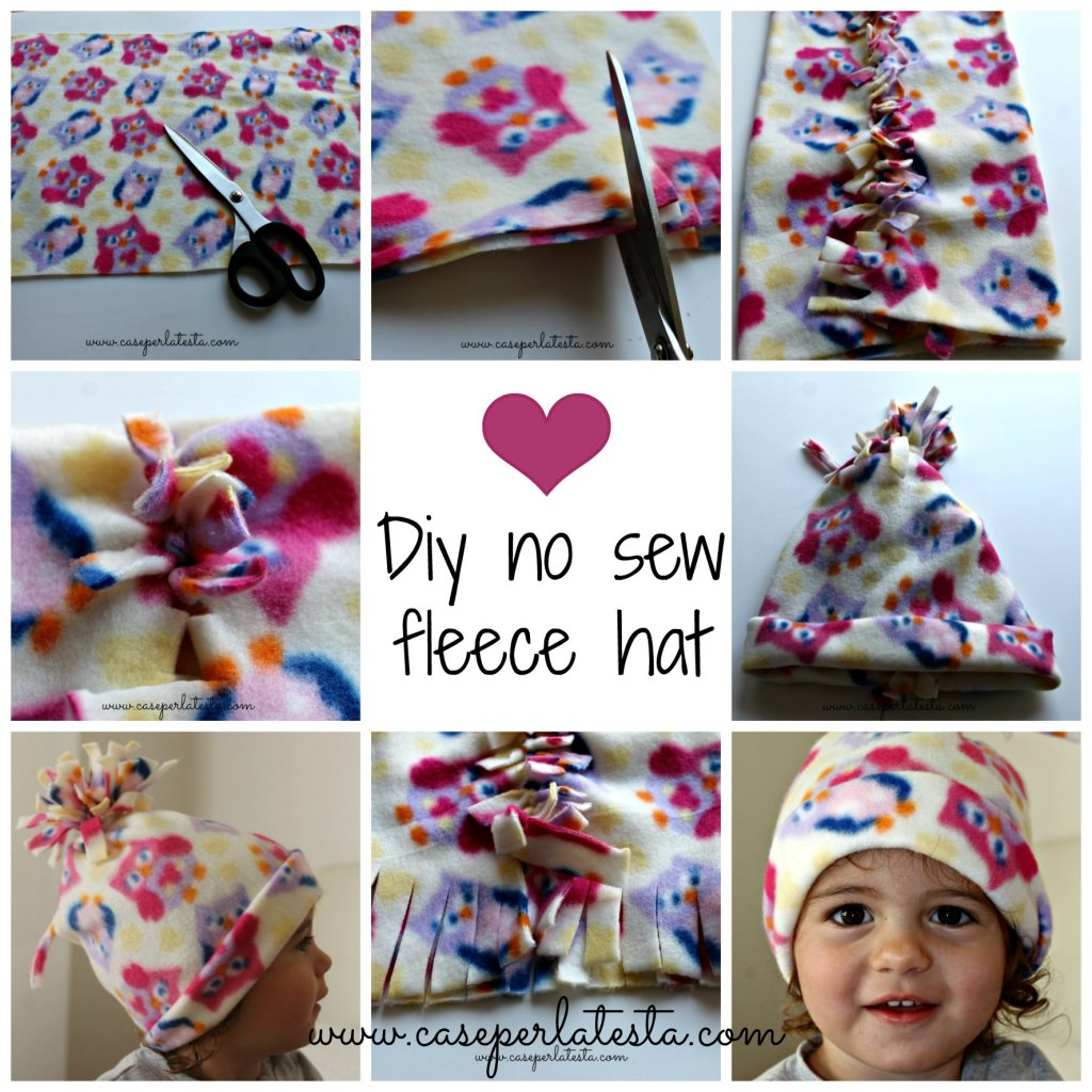 diy no sew fleece hat