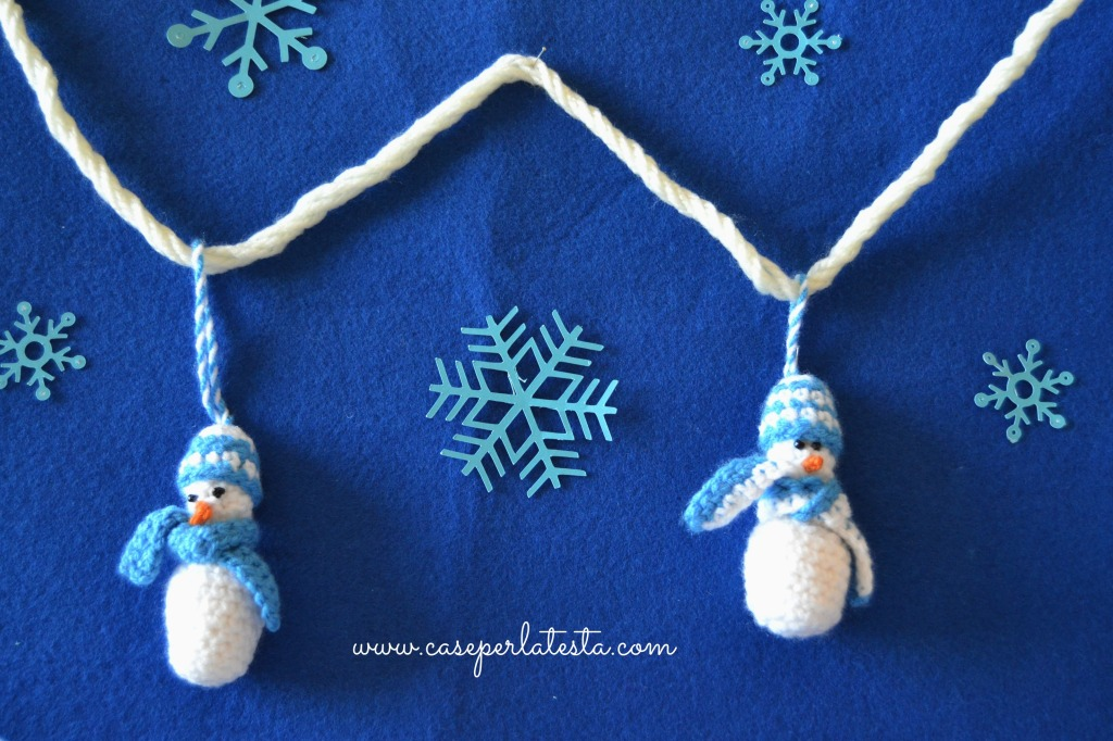 decorazione per natale, xmas tree ornament, crochet snowman, uncinetto, handmade