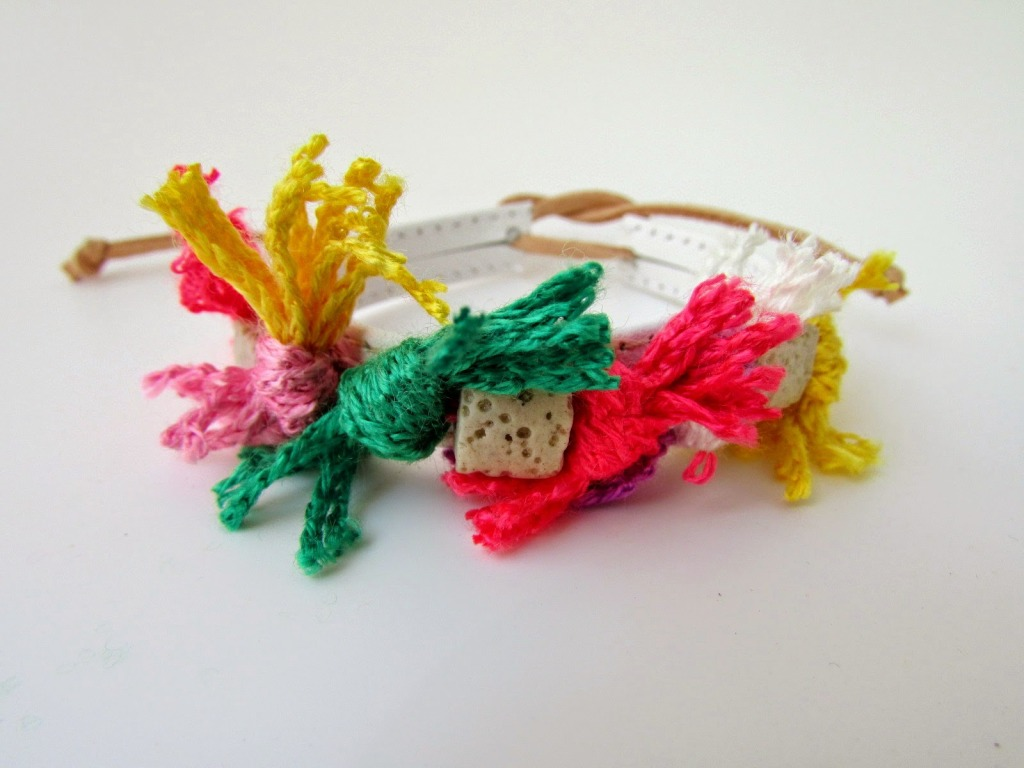 yarn bead leather bracelet diy