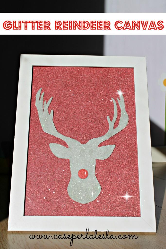 glitter canvas reindeer