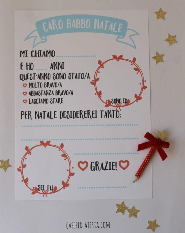 Lettera Babbo Natale Da Stampare.Lettera A Babbo Natale Stampabile Caseperlatesta
