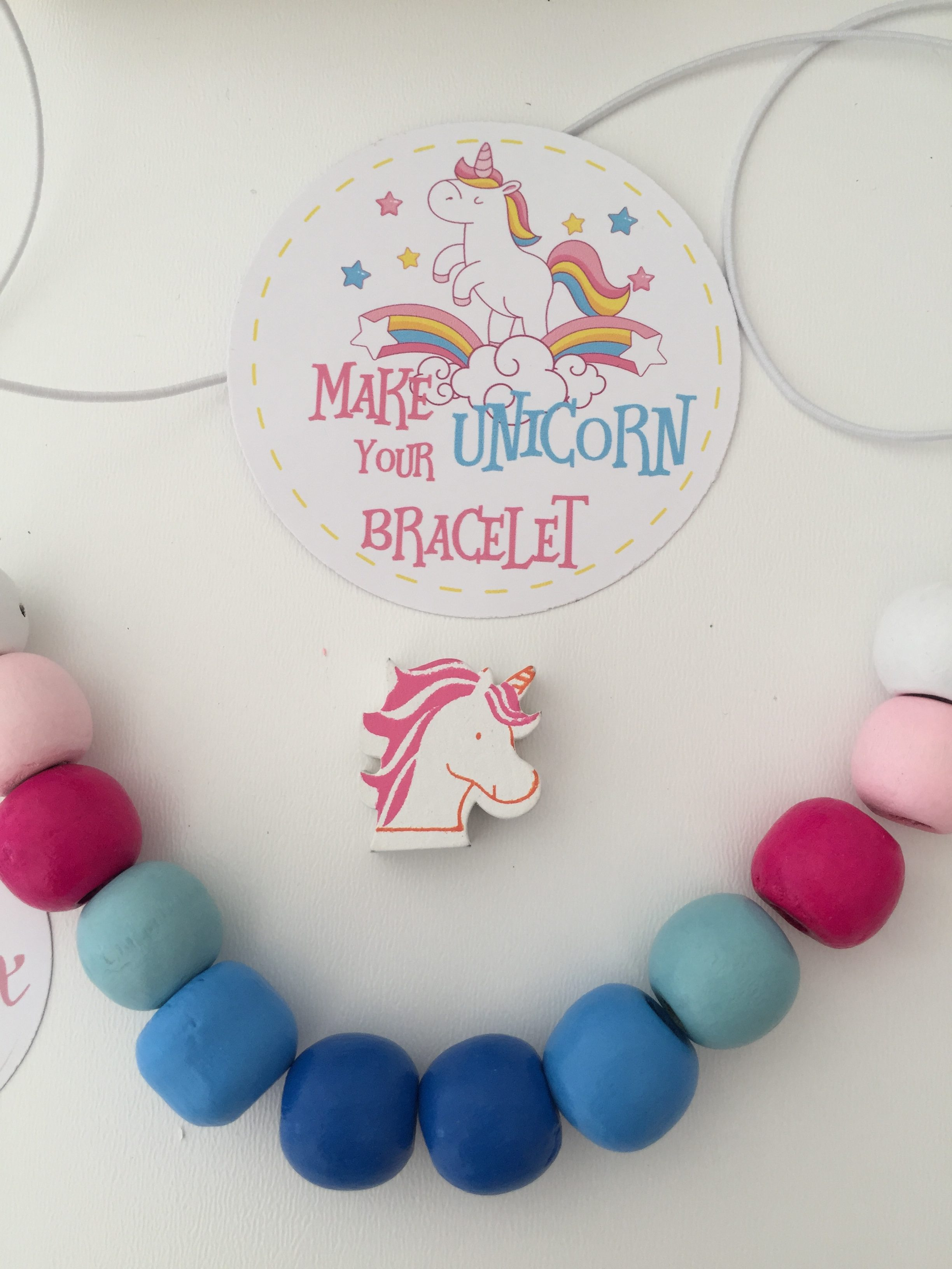 acquisto economico bea39 0c3c0 Kit regalo per braccialetto fai da te a tema unicorno. In legno, DIY, party  favor, craft